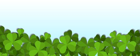 St. Patricks day vector horizontal background with shamrock leaves