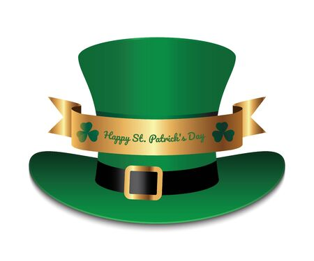 Green hat with gold ribbon and clover leafs. Saint Patricks Day symbol.