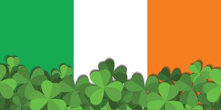 St. Patrick's day horizontal background with shamrock leaves. The Shamrock of the flag of Ireland.