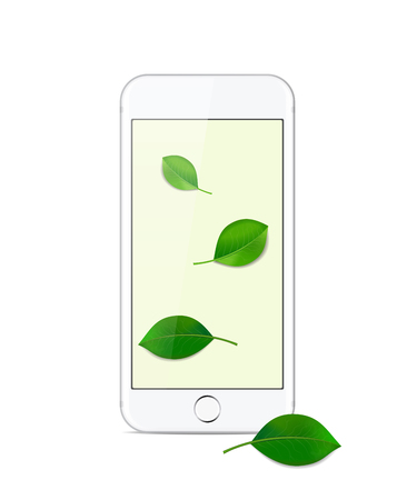 White modern smartphone on a white background with a Wallpaper with green leaves