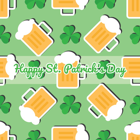 Seamless pattern with leaves of the trefoil and mugs of beer on a green background. Happy St. Patrick's day. Stock Vector - 73479402