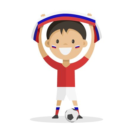 Football player with a ball on a white background raises a scarf with the flag of Russia over his head. Vector illustration. Ilustração