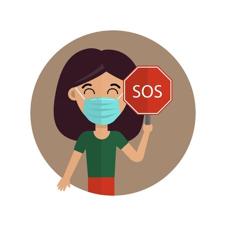 Woman in medical face mask. Novel coronavirus (2019-nov). Vector illustration. Concept of coronavirus quarantine. Woman in medical mask with an SOS sign. Illustration
