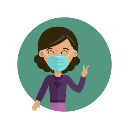 Woman in medical face mask. Novel coronavirus (2019-nov). Vector illustration. Concept of coronavirus quarantine. Illustration