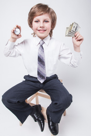 ambitious young entrepreneur shows that Time is money, a successful businessman, planning