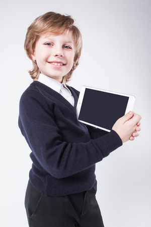 technology deal: successful young man with a clipboard smiling Deal, innovation and technology, the success and profit