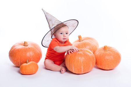 Baby in orange t-shirt on a white background sits next to pumpkins and lasts for one of them, a photo with the depth of field Banco de Imagens