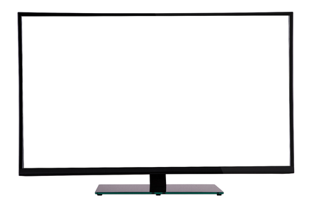 deployed: modern slim plasma TV on black glass stand isolated on a white background, is deployed to the viewer