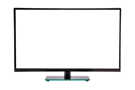 fullhd: modern slim plasma TV on black glass stand isolated on a white background
