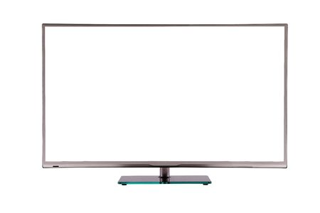 tft: modern thin plasma LCD TV on a silver black glass stand isolated on a white background, standing on the background screen to the viewer