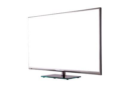 fullhd: modern thin plasma LCD TV on a silver black glass stand isolated on a white background, standing against a background of diagonal