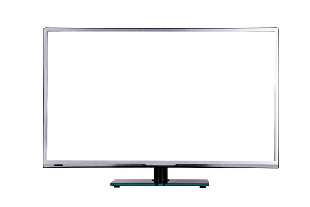 fullhd: modern thin plasma LCD TV on a silver black glass stand isolated on a white background, standing on the background screen to the viewer