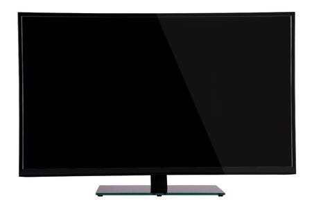 fullhd: modern slim plasma TV on black glass stand isolated on a white background, is deployed to the viewer