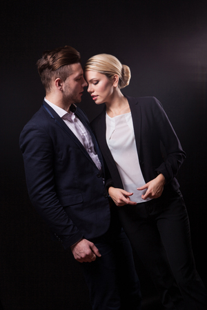 collegial: a love affair between a man and a woman businessmen, collegial lovers