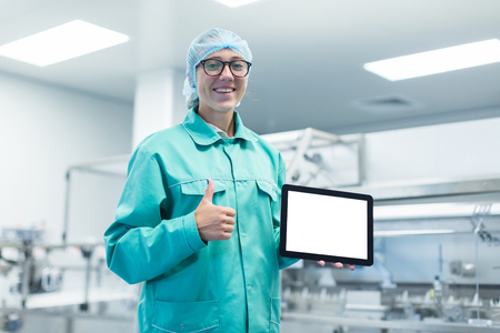 plant picture, clean room equipment and stainless steel machines Stock Photo