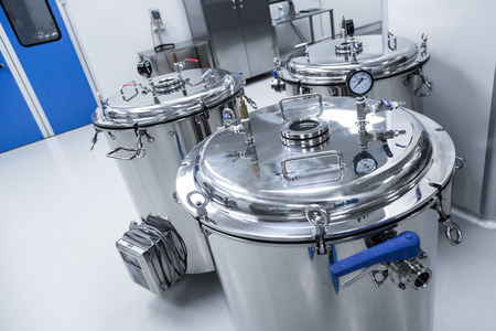manufacturing equipment: plant picture, clean room equipment and stainless steel machines Stock Photo