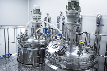 plant picture, clean room equipment and stainless steel machines Standard-Bild