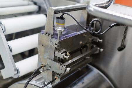 shafts: metal chromed manufacture machines with shafts, wires and electronics, close, engine, control block Stock Photo