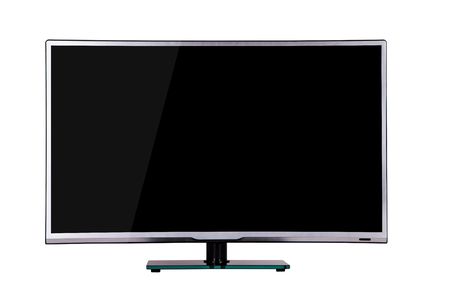 modern thin plasma LCD TV on a silver black glass stand isolated on a white background, standing on the background screen to the viewer