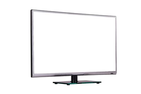 modern thin plasma LCD TV on a silver black glass stand isolated on a white background, standing against a background of diagonal
