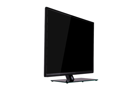 modern slim plasma TV on black glass stand isolated on a white background, standing against a background of diagonal