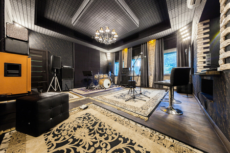 interior music studio for musicians playing, photo made in the wide-angle lens