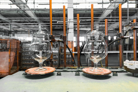 Glass production, glasses workpiece before cutting, work shop Stock Photo