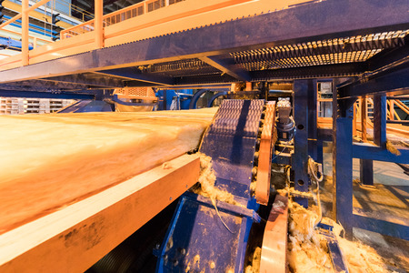 Factory workshop interior and machines on glass production background Standard-Bild