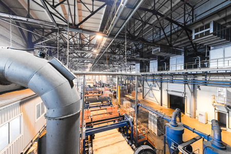 Top view of modern operational plant producing heavy industry machinery metalworking workshop concept. Banco de Imagens