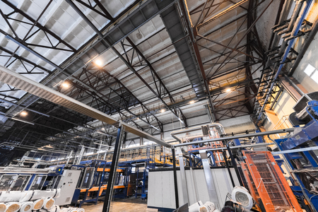 Factory workshop interior and machines on glass industry background process of production 스톡 콘텐츠