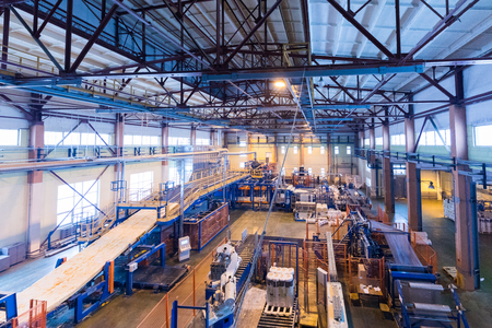 Fiberglass industry production of glass line at factory Stock Photo