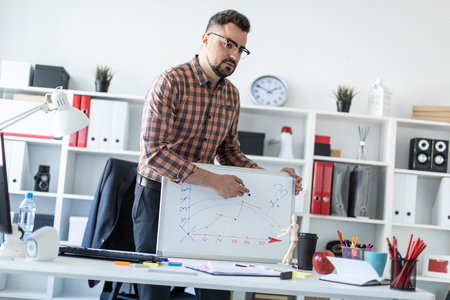 A bearded man in a plaid shirt, glasses and dark trousers works in a bright office. photo with depth of field.