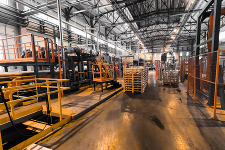 Factory workshop interior and machines on glass industry background process of production Banque d'images