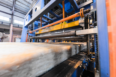 Factory workshop interior and machines on glass industry background process of production Stock Photo