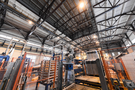 Factory workshop interior and machines on glass industry background process of production 스톡 콘텐츠 - 102595844