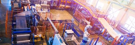 Top view of modern operational plant producing fiberglass heavy industry machinery metalworking workshop concept. Foto de archivo - 110917832