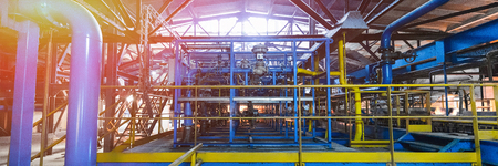 Factory workshop interior and machines on glass production background 스톡 콘텐츠