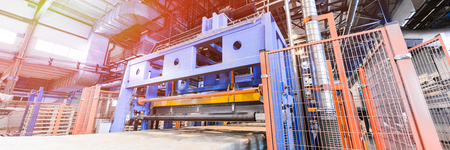 Factory workshop interior and machines on glass industry background process of production of glass