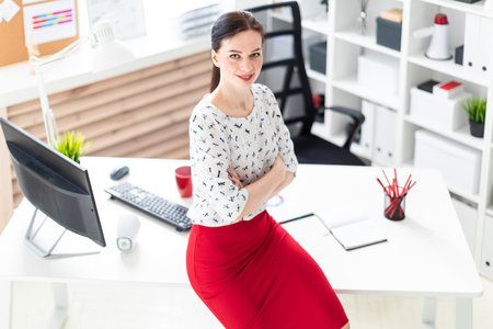 Beautiful young girl working in a bright office. Young girl in blouse and red skirt. Hair girls gathered in the back. photo with depth of field Imagens