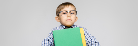 Portrait of a boy on a gray background. A boy with glasses. The boy is holding documents folders.