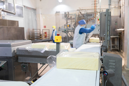 An employee in a blue form packs a large piece of oil into a transparent film on the production line . The production process at the dairy plant Imagens