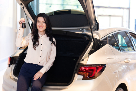 Beautiful woman in dealership center staying near new car. Shows functionality of the car Reklamní fotografie