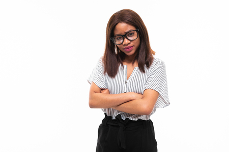 african-american young girl possing in casual outfit and glasses isolated on mockup background Фото со стока - 122955062