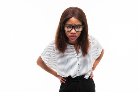 african-american young girl possing in casual outfit and glasses isolated on mockup background Фото со стока - 122955142