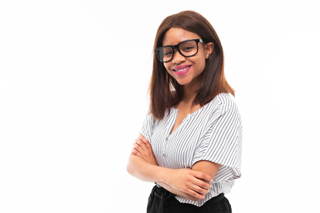 african-american young girl possing in casual outfit and glasses isolated on mockup background Фото со стока - 122955144