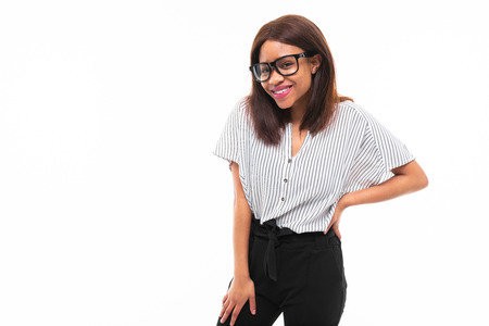 african-american young girl possing in casual outfit and glasses isolated on mockup background Фото со стока - 122955147