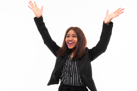 emotional african-american young girl in black suit possing isolated on mockup background