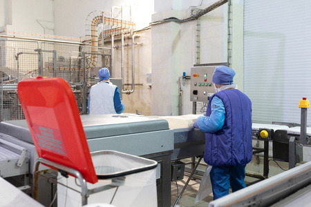 worker of production department make set up of the line while standing near equipment of dairy factory Фото со стока