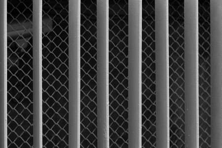 Grunge gray iron railing, background with grunge texture