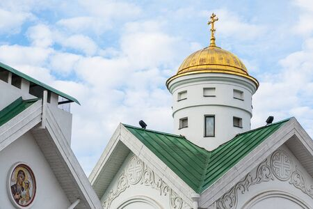 Rooftop of white christian cathedral church in Minsk Stok Fotoğraf